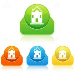 Colourful Round Badges with Abstract House Icon